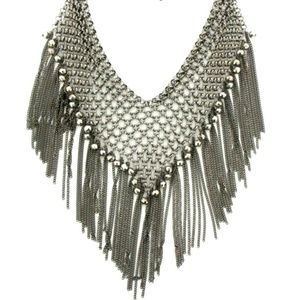 Vintage Silver tone Chain Fringe Bib Necklace Boho